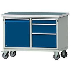 Kompaktowy stół warsztatowy, blat uniwersalny,szer. x głęb. 1140 x 650 mm, 1 szafa, 3 szuflady marki Anke