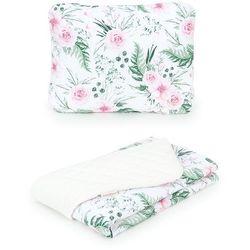 Mamo-tato komplet kocyk dla dzieci 75x100 velvet pikowany + poduszka różany ogród / ecru