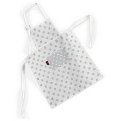 Dekoria Fartuszek dziecięcy prosty, szare kropki na białym tle, 46x59cm, Ashley - produkt z kategorii- Fartuchy kuchenne