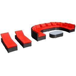 vidaXL Zestaw mebli ogrodowych z polirattanu: sofa, leżaki i czerwone poduszki