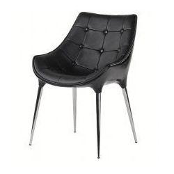 Fotel PASSION czarny, ekoskóra - włókno szklane, podstawa chromowana