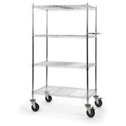 Wózek stołowy z kratą drucianą, z półkami, dł. x szer. x wys. 910x610x1670 mm, 4 marki Seco