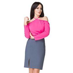 Różowa Bluzka Wiązana na Szyi, kolor różowy