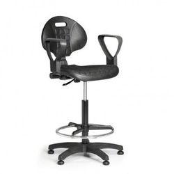 Krzesło PUR z podłokietnikami, stały kontakt, ślizgacze