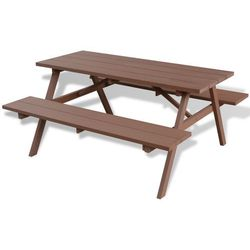 Vidaxl  stół piknikowy z ławkami 150x139x72,5 cm wpc brązowy