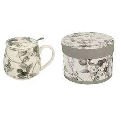 Baniasty kubek porcelanowy z sitkiem aida szary marki Duo