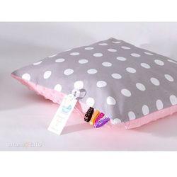 poduszka minky dwustronna 40x40 grochy szare / jasny róż marki Mamo-tato