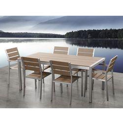 Aluminiowe meble ogrodowe brązowe dla 6 osób, polywood, vernio, marki Beliani