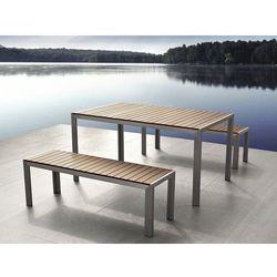 Aluminiowe meble ogrodowe brązowe z dwiema ławkami, Polywood, NARDO (7081451871626)