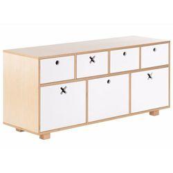 Durbas Style Drewniana Komoda Niska 120 x 40 Biała
