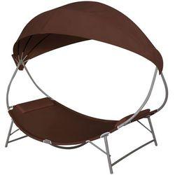 Vidaxl leżak z baldachimem, kolor brązowy