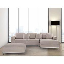 Nowoczesna sofa z pufą w kolorze beżowym L - kanapa tapicerowana - OSLO