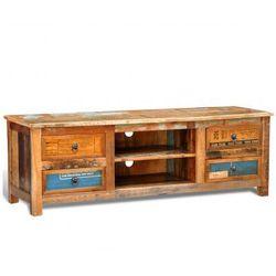 Drewniana półka pod TV vintage z 4 szufladami - oferta [35bee10441822708]