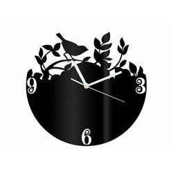 Congee.pl Zegar z pleksi na ścianę ptaszek na gałązce z białymi wskazówkami (5907509936142)