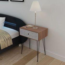 Vidaxl prostokątna, brązowa szafka nocna z 1 szufladą