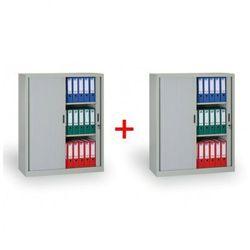 B2b partner Szafa metalowa z żaluzjowymi drzwiami 1+1 gratis, 1200x1000x450 mm, szara
