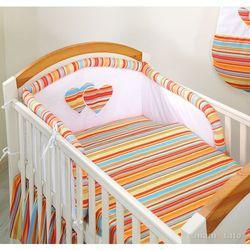 Mamo-tato pościel 3-el serduszka w paseczkach pomarańczowych do łóżeczka 60x120cm