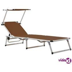 Vidaxl składany leżak z daszkiem, aluminium i textilene, brązowy