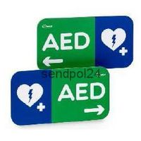 Tabliczka kierunkowa W LEWO, [ 16 x 30cm ], AED Lifeline 7 lat