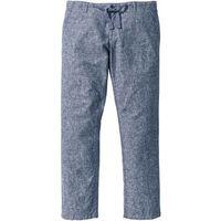 Spodnie z bawełny z lnem regular fit  ciemnoniebiesko-biały melanż marki Bonprix