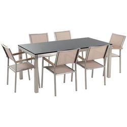 Zestaw ogrodowy naturalny kamień 180 cm 6-osobowy beżowe krzesła GROSSETO (4260580923762)