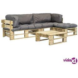 vidaXL Ogrodowe meble z palet, 4 szt., drewno FSC z szarymi poduszkami (8718475715757)
