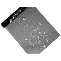 Organza czarna z nadrukiem jednostronnym w kolorze srebrnym - 36 cm x 9 m.
