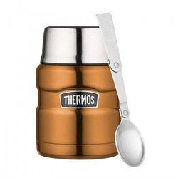 Thermos ® - termos obiadowy ze składaną łyżką - miedziany, 6D23-18992_20191028165600