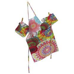Dekoria Komplet kuchenny fartuch,rękawica i łapacz, kolorowe kwiaty z mandalami, kpl, Comics - produkt z kategorii- Fartuchy kuchenne
