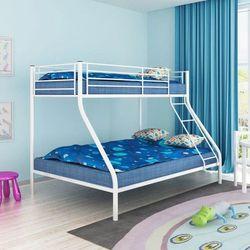 Łóżko piętrowe dla dzieci z białą metalową ramą 200x140/200x90 marki Vidaxl