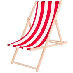 Springos Leżak ogrodowy drewniany z materiałem czerwono-białe pasy