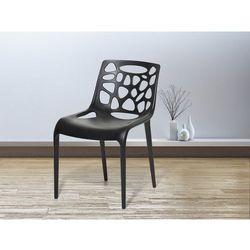 Krzesło ogrodowe - plastikowe czarne - krzesło z tworzywa sztucznego - morgan wyprodukowany przez Beliani
