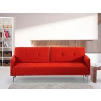 Sofa z funkcją spania marchewkowa - kanapa rozkładana - wersalka - LUCAN, kolor pomarańczowy