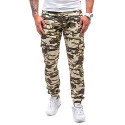Moro-zielone spodnie joggery bojówki męskie Denley 1111 - ZIELONY, spodnie męskie J.N.S