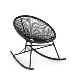 roqueta fotel bujany styl retro plecionka 4 mm, czarny marki Blumfeldt