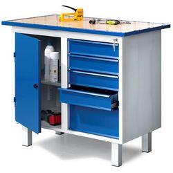Aj produkty Stół warsztatowy flex, na nóżkach, szafka, 5 szuflad