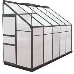 Szklarnia ogrodowa z poliwęglanu dostawiana do budynku o pow. 3,7 m² calice ii z podstawą - antracytowa marki Vente-unique.pl