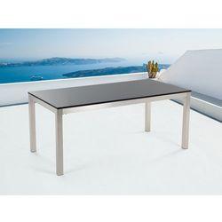 Stół czarny polerowany ze stali nierdzewnej 180cm - granitowy blat - cała płyta - grosseto od producenta Beliani