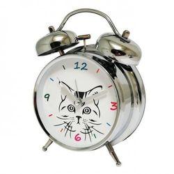 Super cichy budzik metalowy z dzwonkami #kot, ATB045E