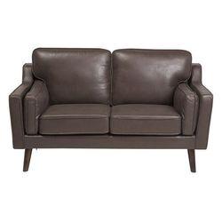 Sofa dwuosobowa imitacja skóry brązowa lokka marki Beliani