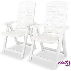vidaXL Krzesła ogrodowe rozkładane, 2 szt., białe, 60 x 61 108 cm (8718475594314)