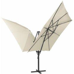 Vidaxl podwójny parasol z dwiema czaszami, 300x300 cm, kremowy (8718475503354)