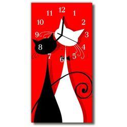 Zegar Szklany Pionowy Zwierzęta Koty czerwony