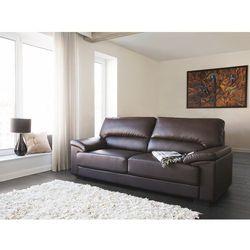 Sofa brązowa - trzyosobowa - kanapa - skóra ekologiczna - VOGAR, kolor brązowy