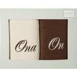 Komplet ręczników 2 szt. Eurofirany On-Ona kremowy/brązowy, E08-2/04