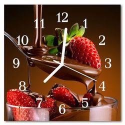 Zegar szklany kwadratowy Czekoladowe truskawki