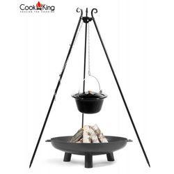 Cook&king Zestaw 3w1 kociołek emaliowany 10l na trójnogu + palenisko bali 70cm