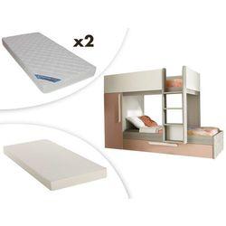 Vente-unique Łóżko piętrowe antonio z wysuwaną szufladą – 3 × 90 × 190 cm – szafa – sosna kolor różowy i biały, z wysuwanym materacem i 2 materacami zeus 90 × 190 cm