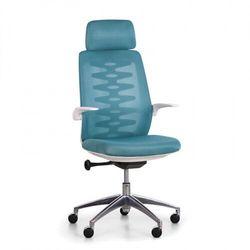 Krzesło biurowe z oparciem siatkowym sitta white, turkus marki B2b partner