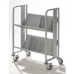 Stalowy wózek na segregatory, 2 piętra, białe aluminium. z 2 podpórkami na książ marki Quipo